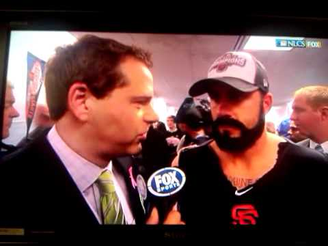 """Brian """"The Beard"""" Wilson NLCS Champion Post Game interview on Fox Sports"""