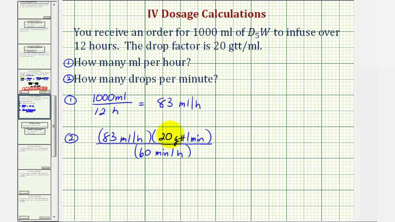 Ex 1: IV Dosage Calculation - Flow Rate in Milliliters Per Hour and Drops  Per Minute