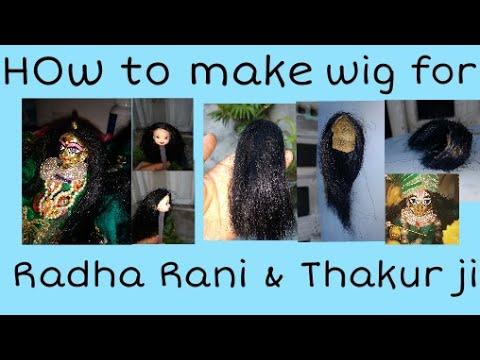How to make wig/hair/bal for Thakur ji and Radha rani ठाकुर जी /लाडू गोपाल जी के बाल/विग कैसे बनाये।
