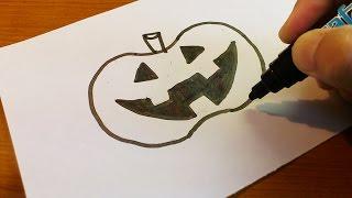 easy very drawing draw halloween drawings lantern jack paper paintingvalley