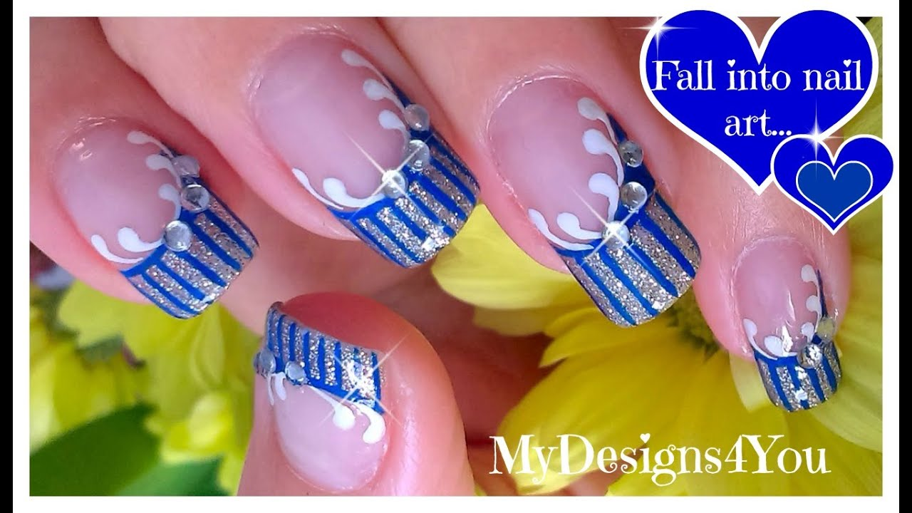 Easy Nail Art Design Blue And Silver French Youtube