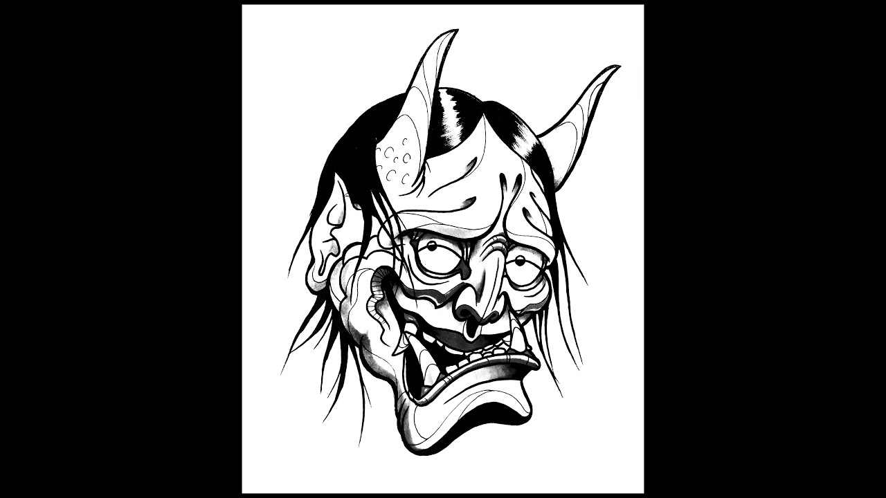 Devil Face Line Drawing : How to draw a hannya demon mask by thebrokenpuppet youtube