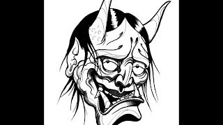 How to draw a Hannya Demon Mask by thebrokenpuppet