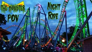 The Monster HD Night Ride Front Seat On Ride POV & Review. Gerstlauer Infinity Coaster Adventureland
