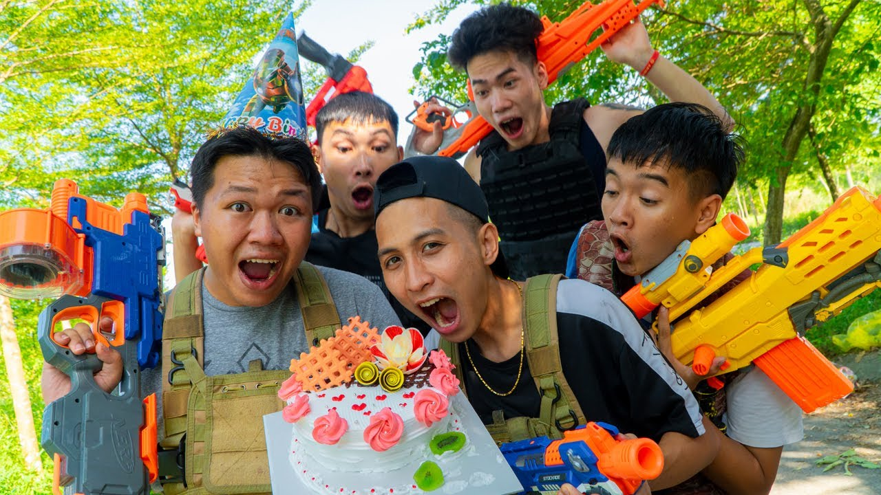 Action Nerf War: SEAL NERF Warrior Nerf Guns Fight Criminal Group Birthday Cake Battle