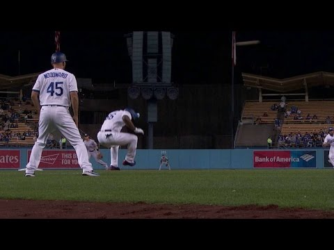 MIA@LAD: Puig ducks out of the way of screaming foul