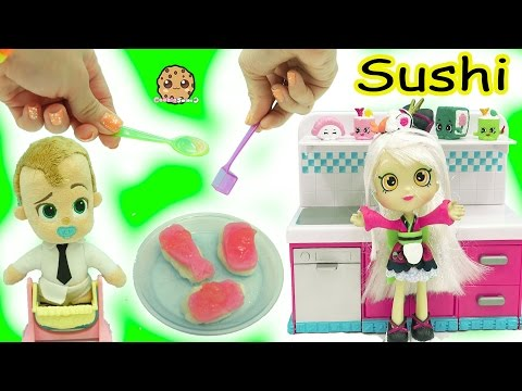 Shoppies Doll Cooks The Boss Baby Yummy Nummies Kitchen Magic Gummy Candy Sushi Surprise Food