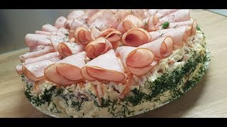 """салат""""Изысканный"""" с ветчиной, мариноваными грибами и плавленным сыром"""