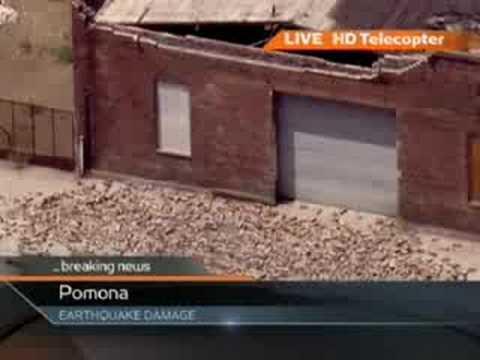 Quake Shakes Bricks Off Building In Pomona, California