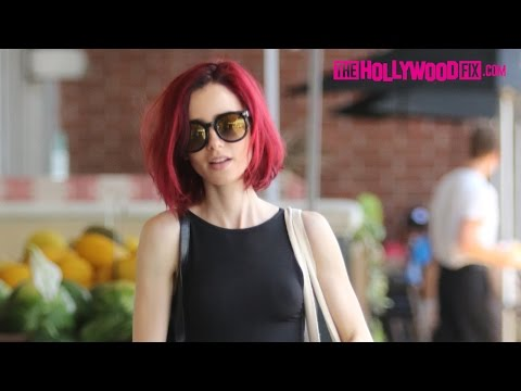Lily Collins Shows Off Her New Red Hair While Shopping At Whole Foods In West Hollywood 6.21.16