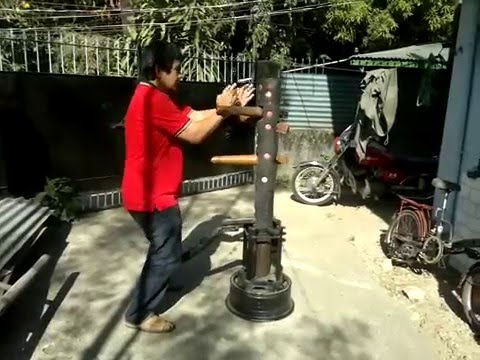 Wing Chun Philippines Training With Petite Wooden Dummy In Del Monte