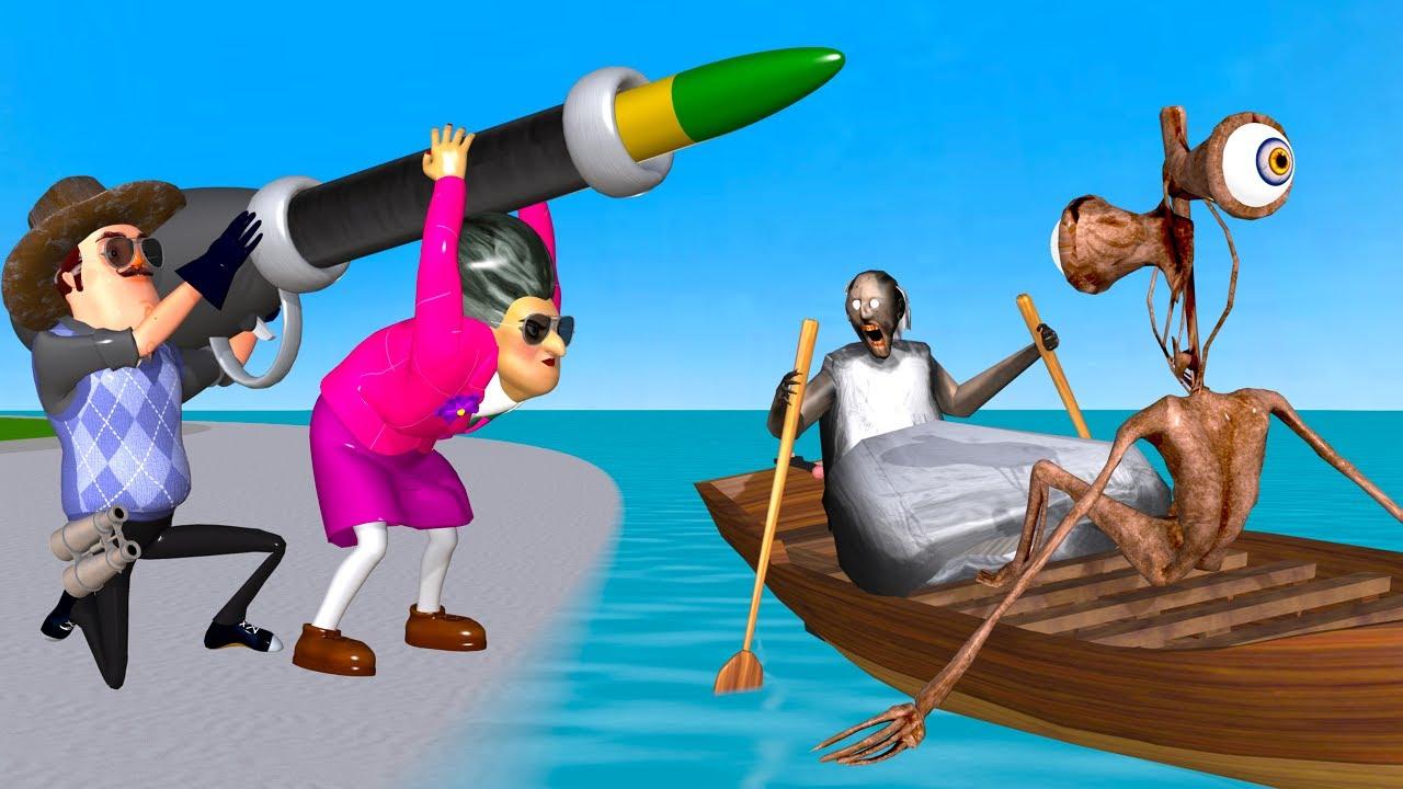 Scary Teacher 3D Miss T vs Hello Neighbor Troll Eyes Siren Head and Granny with Woodboat on Beach