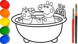 Bathroom of Peppa Pig drawing and coloring Pages For Kids | Peppa pig kamar mandi Halaman Mewarnai