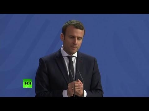 Conférence de presse d'Angela Merkel et Emmanuel Macron pour sa première visite à l'étranger