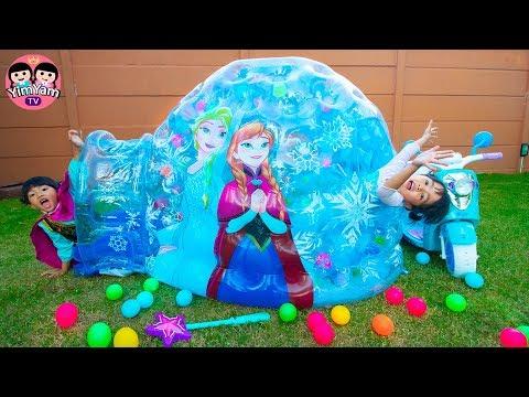 หนูยิ้มหนูแย้ม | เล่นอุโมงค์น้ำแข็งเอลซ่า YimYam Pretend Play with Frozen Princess Inflatable Igloo