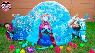 หนูยิ้มหนูแย้ม   เล่นอุโมงค์น้ำแข็งเอลซ่า YimYam Pretend Play with Frozen Princess Inflatable Igloo