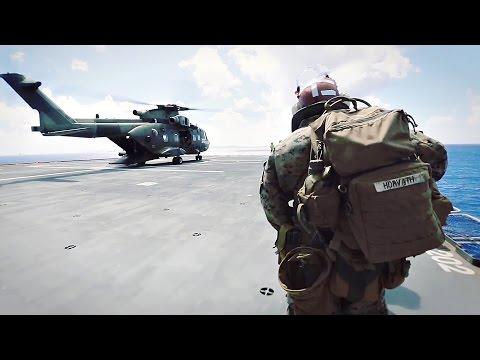 U.S. Marines Sea Based Raid Via British Merlin Mk3 Helicopter