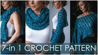How to Crochet 7-in-1 Trąde Winds Wrap for Beginners! Easy and Customizable!