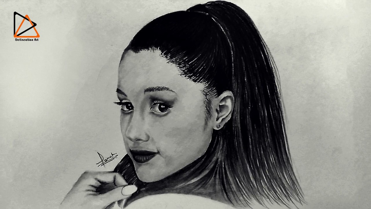 How to draw ariana grande realistic sketch ariana grande time lapse video delineation art