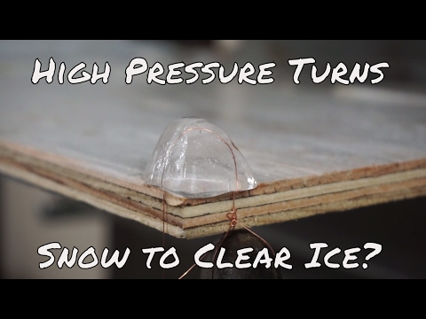 Snow Turned Into Clear Sheet Of Ice By A Hydraulic Press