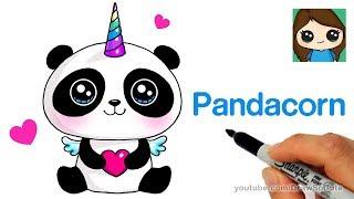 Wie zeichnet man eine Pandacorn Süß und Einfach