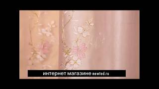 Розовый комплект штор с тюлью