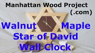 24 - Walnut And Maple Star Of David Wall Clock - Manhattan Wood Project