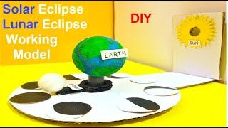 solar and lunar eclipse 3D working model for school project | science exhibition | science fair