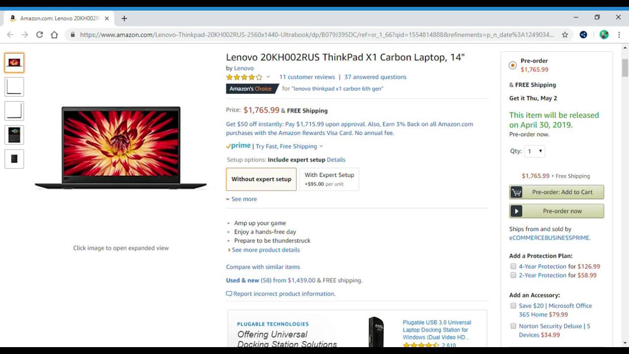 Coming 4/30/19: Lenovo 20KH002RUS ThinkPad X1 Carbon Laptop 14 inch