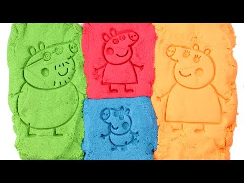 Peppa Pig Kinetic Sand Peppa's Family Daddy Pig Mommy Pig George Learn Colors Play Doh Fun for Kids