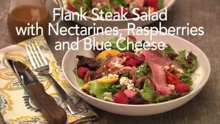 Marinated Flank Steak Salad with Nectarines, Raspberries and Blue Cheese - HealthyBites