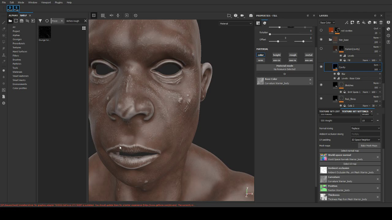 Texturing realistic skin in Substance Painter