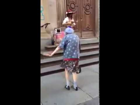 Old woman dancing naked
