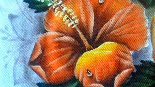 Como pintar Hibisco Laranja em tecido