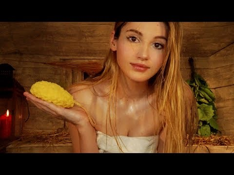 ASMR  Let's enjoy a HOT Sauna together! WASHING YOU and MASSAGING you! Most REAL SAUNA EXPERIENCE!