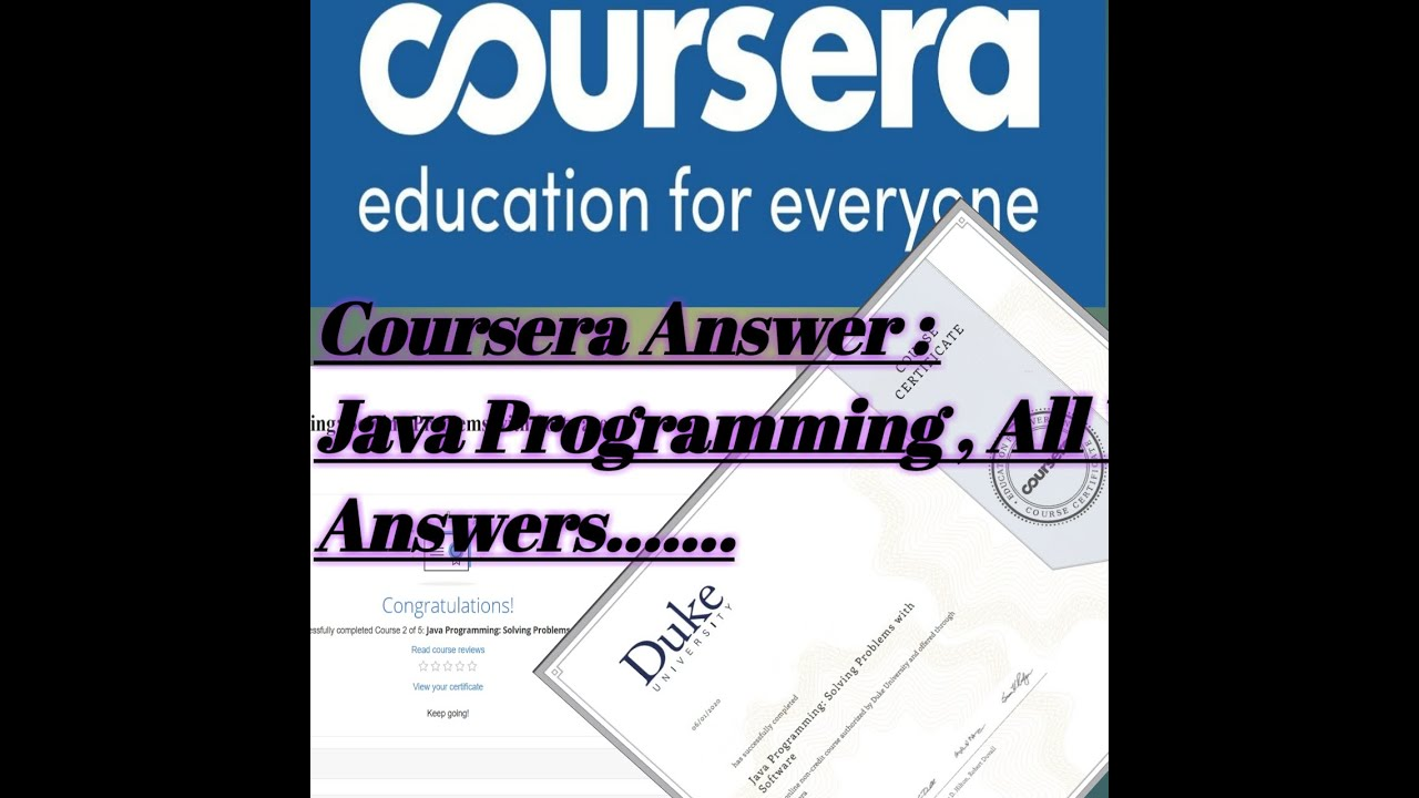 Coursera Answers Java Programming Solving Problem With Software Youtube