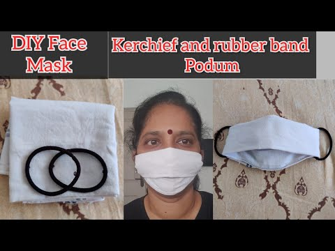 Diy Face Mask With Handkerchief And Rubber Bands Face Mask For