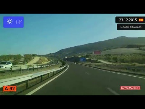 Driving through Andalucía (Spain) from Sevilla to Málaga 23.12.2015 Timelapse x4