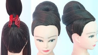 1 minute hairstyle using clutcher || cute hairstyle || chignon bun || hairstyle for short hair