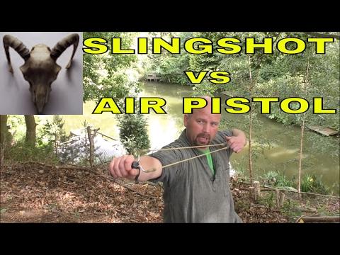 Pocketshot vs Black Widow vs Weirhauch HW45 - Slingshot or Air Pistol for Survival?