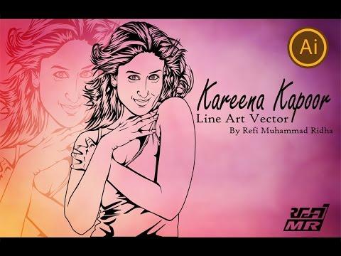 Kareena Kapoor-Seni Garis-Adobe Illustrator-Bintang Bollywood-Bagian 1