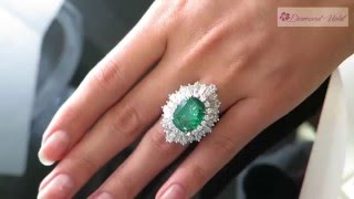 GIA 13 89CT Vintage Colombian Natural Green Emerald Diamond Ballerina Cluster Platinum Ring