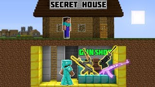 Minecraft NOOB vs PRO : SECRET HOUSE GUN SHOP BASE Challenge - Minecraft Animation