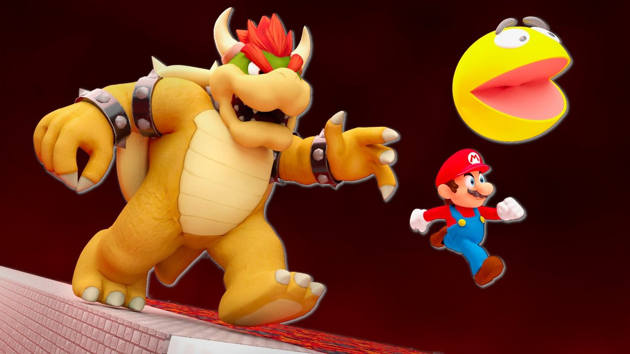 Mario and Pacman vs Giant Bowser