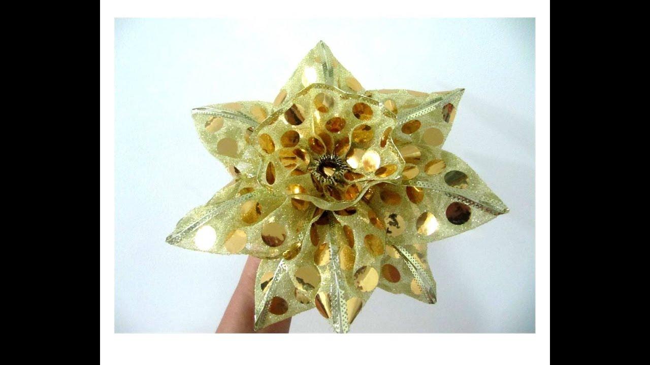 moos flor dorada de navidad en cintas de organza ribbons christmas flower