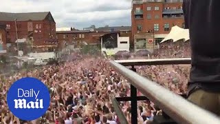 Fans go wild in Manchester after England score in World Cup