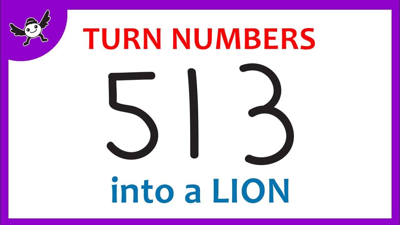 how to turn numbers u201c513 u201d into cartoons lion u2013 learn drawing art