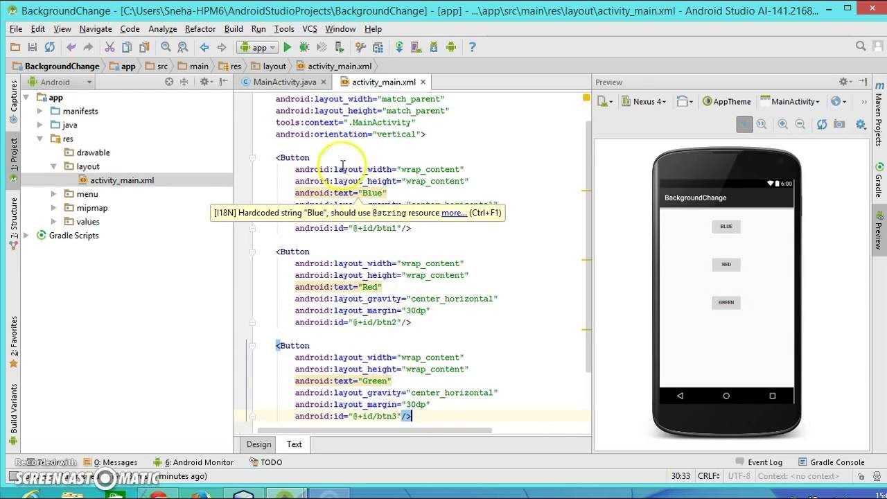 android studio layout background color