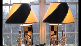 Vintage Mid Century Modern Moss Lucite Motion Table Lamps