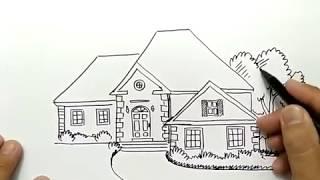 cara menggambar rumah dengan bagus dan mudah